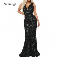 V Neck Mermaid Long Dresses Female Sequined Floor Length Maxi Dress Party Elegant Black Green Gold