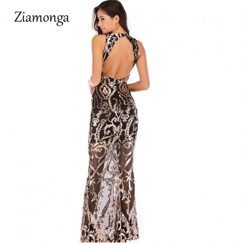 1d4867f8f3 ... V Neck Mermaid Long Dresses Female Sequined Floor Length Maxi Dress  Party Elegant Black Green Gold ...
