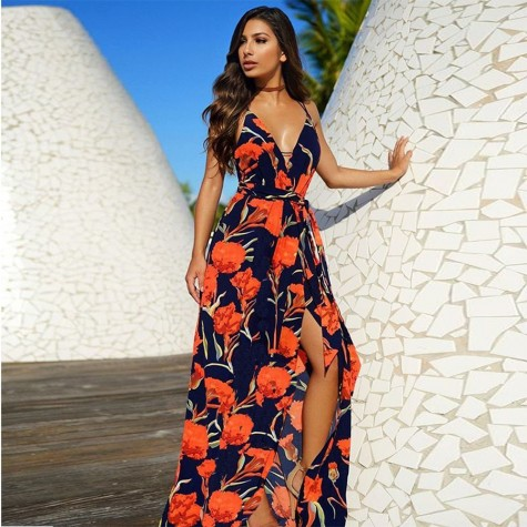 12d49b782cd ... Boho New V-Neck Women Long Maxi Dress Sexy Sleeveless High Waist Print  Orange Blue ...