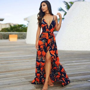 Boho New V-Neck Women Long Maxi Dress Sexy Sleeveless High Waist Print Orange Blue