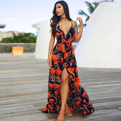 e3533073592 Boho New V-Neck Women Long Maxi Dress Sexy Sleeveless High Waist Print  Orange Blue