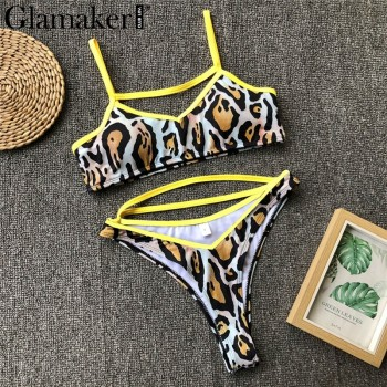 Hollow out V neck sexy bodycon bodysuit Leopard yellow beach swimsuit female two piece suit Black Khaki Red White