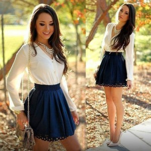 Long sleeve Spring Autumn V-Neck Bodycon Short Mini Dress White/Blue