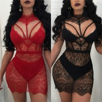 Mini Red/black Summer Lace Dress high Waist Sexy See Through Hollow Out package BLACK RED