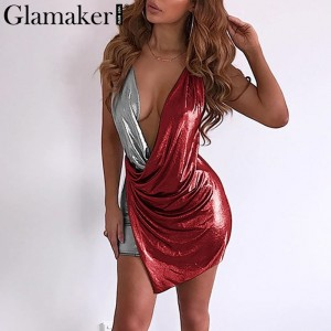 Sexy v neck backless bodycon dress Women plus size bandage summer beach dress Blue Gold Red Silver