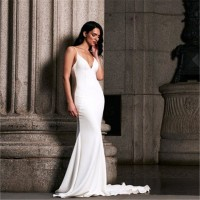 Vintage Party Dresses Elegant Backless Sexy White Maxi Wedding Dress Floor Length