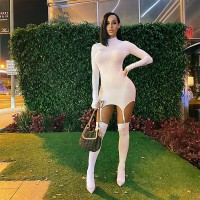 Echoine Autumn irregular sexy mini dress come with socks Turtleneck Sexy Bodycon Skinny Party Night Club Dresses irregular