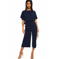 Black Always Chic Belted Culotte Jumpsuit Blue