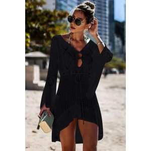 Black Crochet Knitted Beach Cover up Dress