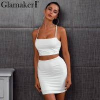 Lace up spaghetti strap bodycon dress women Elegant elastic crop top Backless two piece Black White Red