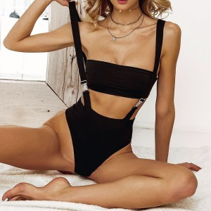2020 New Sexy High Waist Bikini Swimwear Women Solid Swimsuit Bandeau Push Up Bikini Set Belt Bathing Suits Beach Wear Swim Suit