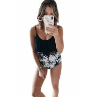 Black Print High Waist Swimsuit White