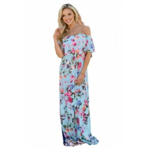 Sky Blue Ruffle Off Shoulder Floral Print Maxi Boho Dress