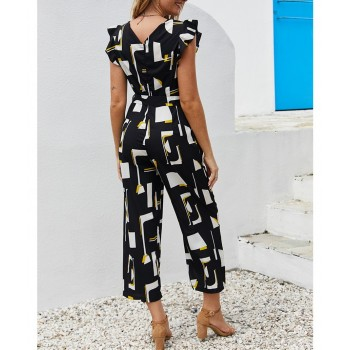 2019 Summer Black Print Jumpsuit Women Streetwear O-Neck Ruffles Sleeve Pocket Casual Rompers Women Sashes Overall Jumpsuit
