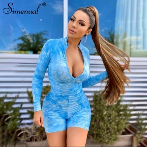 Simenual Tie Dye Ruched Casual Biker Shorts Rompers Women Long Sleeve Workout Active Wear Skinny Playsuit Fashion Bodycon 2020