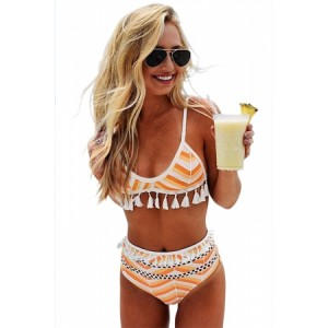 Yellow Boho Tassel High Waist Bikini Pink
