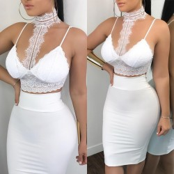 2 Piece Lace Bodycon Two Piece Outfits Sleeveless Shirt Crop Tops White