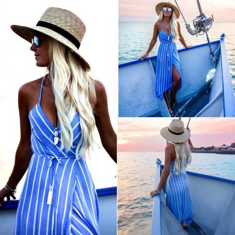 3458128a1d Boho Maxi Long Striped Halter Evening Party Beach Dresses Sundress Blue