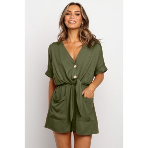 Army Green V Neck Tunic Romper with Pockets Rust Black