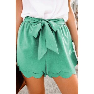 Gray Scalloped Tie Front Shorts Khaki Green