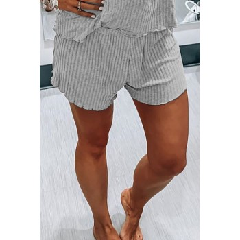 Black Ribbed Knit Tank Shorts Set Gray