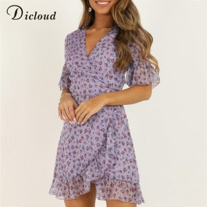 DICLOUD Women Lilac Floral Wrap Dress Summer Elegant Flare Sleeve Boho Print Mini Sundress Sexy V Neck Ladies Clothes 2020