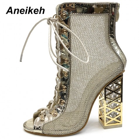 Ladies Lace Up Stiletto Heel Peep Toe Ankle Strappy Calf Gladiator Sandals Shoes