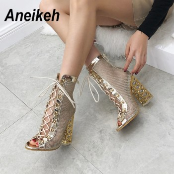 Aneikeh New Summer Sandal Sexy Golden Bling Gladiator Sandals Women Pumps Shoes Lace-Up High Heels Sandals Boots Gold Black
