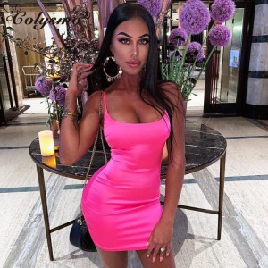 Colysmo Stretch Satin Mini Dress Women Sexy Straps Slim Fit Bodycon Party Dress Neon Green Pink Dress Dual-layered