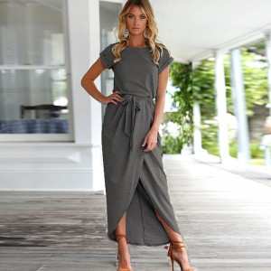 ELSVIOS 6 Colors Boho Split Long Dress Fashion Women O-Neck Maxi Dress Summer Short Sleeve Solid Dress With Belt