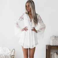 Hollow Out Chiffon Dress Sexy Women Mini Dress Criss Cross Bandage Lace Semi-sheer Plunge V-Neck Long Sleeve Dress Black Burgundy White
