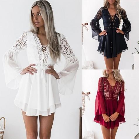 509601cf8f8 ... Hollow Out Chiffon Dress Sexy Women Mini Dress Criss Cross Bandage Lace  Semi-sheer Plunge ...