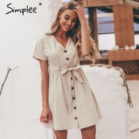Simplee Vintage button women dress shirt V neck short sleeve cotton Apricot Green