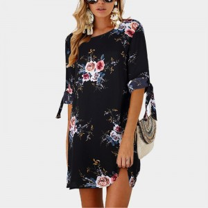 2019 Women Summer Dress Boho Style Floral Print Chiffon Beach Dress Tunic Sundress Loose Mini Party Dress