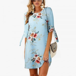 30d545ec5e9e ... 2019 Women Summer Dress Boho Style Floral Print Chiffon Beach Dress  Tunic Sundress Loose Mini Party ...