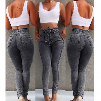 High Waist Jeans Women Streetwear Bandage Denim Plus Size Pencil Pants Skinny Jeans Woman Blue Gray