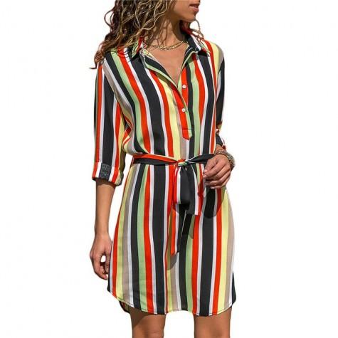 597a820560 Long Sleeve Shirt Dress 2019 Summer Chiffon Boho Beach Dresses Women Casual  Striped Print A-line Mini Party Dress Vestidos