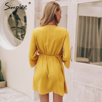 Simplee Vintage long sleeve chiffon summer dress women Black bow office Black Red Yellow