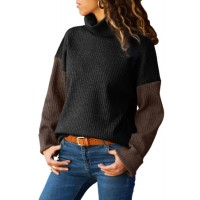 Blue Brown Color Patchwork Ribbed High Neck Sweater Black Mustard