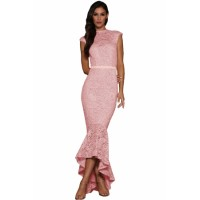Pink Lace Overlay Embroidered Mermaid Dress
