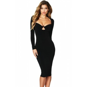 Red Sexy Flirt Long Sleeve Midi Dress Black