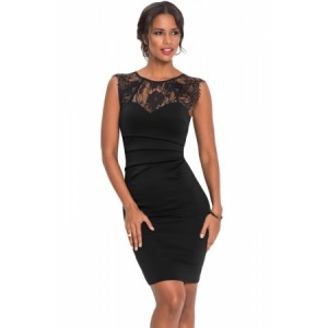 Sheer Lace Yoke Black Sleeveless Bodycon Dress Red Blue