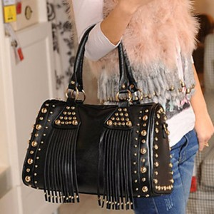 Fashion Rivet Tassels Chain Dual-use Tote