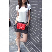 Lady's Fashion Simple Diamond Lattice Mini Crossbody Bag