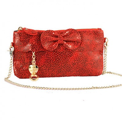 Lady's Snake Skin Pattern Bow Mini Bag