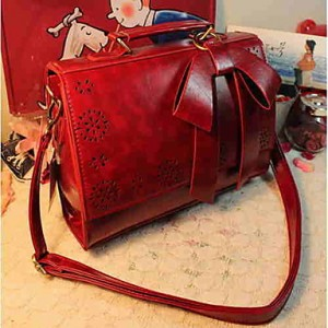 Vintage Bow Decor Hollow Hem Satchel/Crossbody Bag