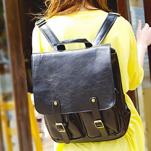 Vintage Double Leather Buckle Backpack