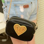 Vintage Squared Heart Pattern Chain Crossbody Bag