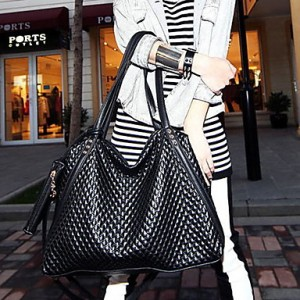 Women's Check Diamond Decorated Casual Tote