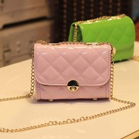 Women's Fashion Sweet Candy Color Diamond Lattice Crossbody Bag(Color of Bag Linings Randoms)